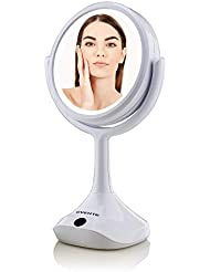 Ovente Table Top Makeup Beauty 6 Inch 1X Vanity Mirror White LED Lights, Full View 5X Magnification Double Sided 360 Rotation, Option of AA Batteries or USB Adapter Powered, White MMT06W1X5X