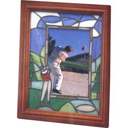 (Stained Glass Golf Motif Vertical Picture Frame)
