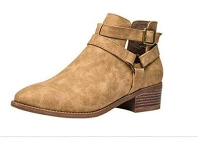 6126896d14110 Women Comfotable Ankle Boot-Chunky Mid Heel Slip On Side Elastic Zipper  Martin Bootise.