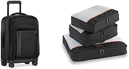 Briggs & Riley ZDX Expandable, Black, Spinner, 21 Inch & 3 Pack Zippered Packing Cubes/Luggage Organizers for Travel, Black, Large