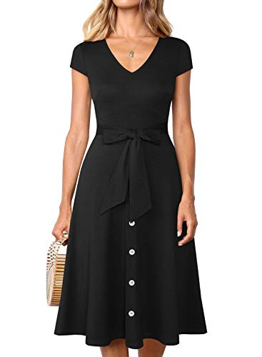 (YATHON Black Dress for Women Casual Retro Cap Sleeve Button Down V-Neck Tie Waist Summer Beach Boho Ladies Swing Cocktail Party Dresses (L, YT008-Black))