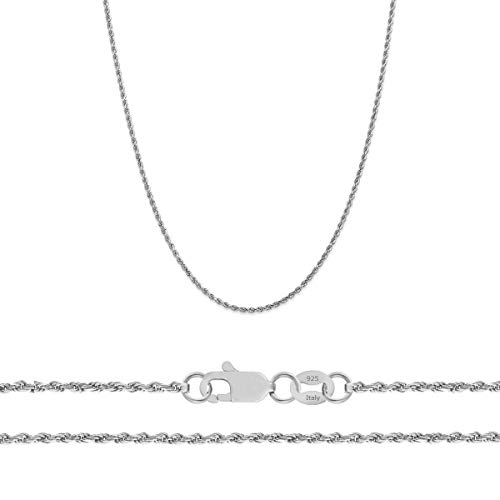 Orostar Sterling Sterling Silver 1.3mm and 1.5mm Diamond-Cut Rope Chain Necklace Italian - 15-30 Inch- Made in Italy (26, 1.5MM)