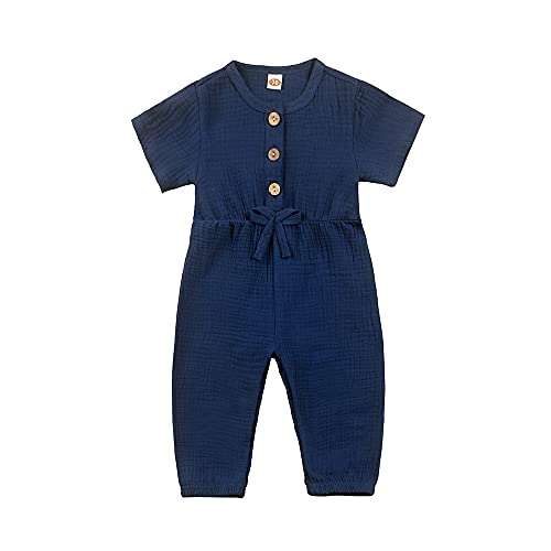 18-24 months girls one-piece rompers summer outfits clothes royal blue jumpsuits dark blue