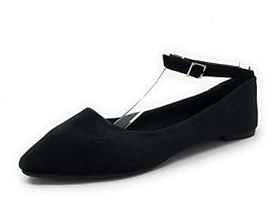 Charles Albert Women's Adjustable Ankle Strap Dressy Velvet Ballet Flats Black Size: 6