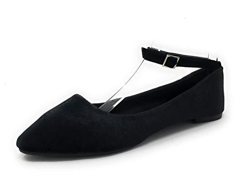 (Charles Albert Women's Velvet Stylish Adjustable Buckle Ankle Strap Ballet Flats in Black Size: 7)