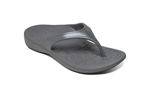 Aetrex Womens Fiji Flips Orthotic Sandals - Charcoal - 8 (EU 38)