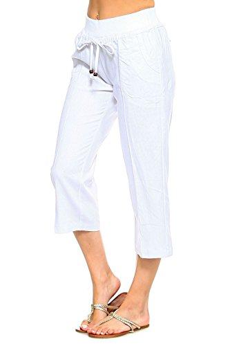 (Betsy Red Couture Women's Drawstring Linen Capri Pants(S-4X) (White, M))