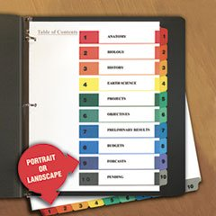 * Table of Contents Dividers, Assorted Color 10-Tab, 1-10, Letter, White by MotivationUSA