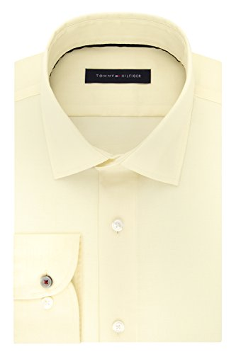 Slim Fit Cream - Tommy Hilfiger Men's Dress Shirt Stretch Slim Fit Solid, Buttercream, 15.5