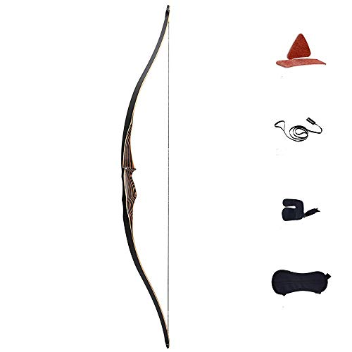 "Deerseeker 54"" Traditional Hunting Longbow One Piece Recurve Bow Handed Archery Targeting Laminated Practice 50lbs"