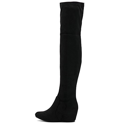 Covered Wedge Faux Suede Thigh Ollio Women's Heel High Boots Long Shoe Black Stretch A8gt0q