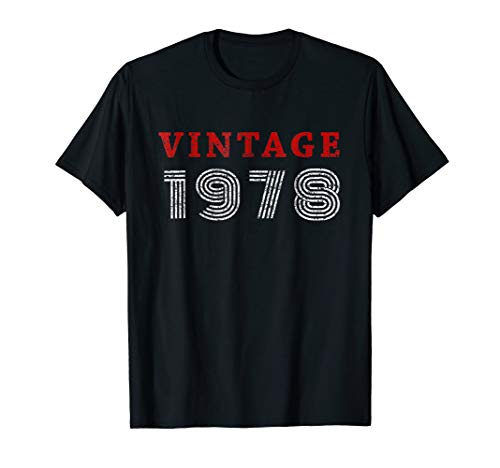 Mens 40th Birthday Gift Vintage 1978 Year T-Shirt Large Black