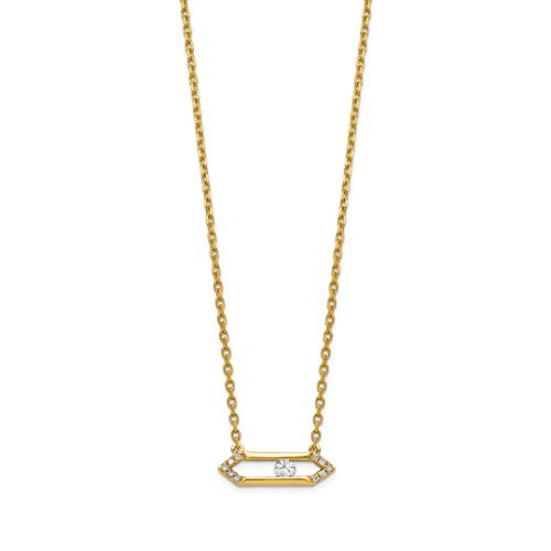 14k Yellow Gold Sliding Diamond Bar 17.5in Chain Necklace Pendant Charm Fine Jewelry For Women Gift (Diamond Gold Bar Style Bracelet)