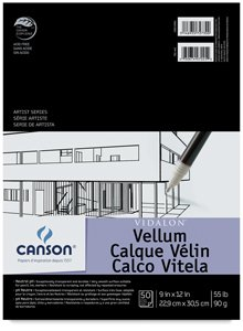 Canson Artist Series Vidalon Vellum Paper Pad, Translucent and Acid Free for Pencil, Ink and Markers, Fold Over, 55 Pound, 9 x 12 Inch, 50 Sheets by Canson
