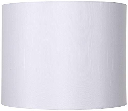 Classic White Drum Lamp Shade Modern Hardback Harp Included 14x14x11 (Spider) - Brentwood (Drum White Lamp Shade)
