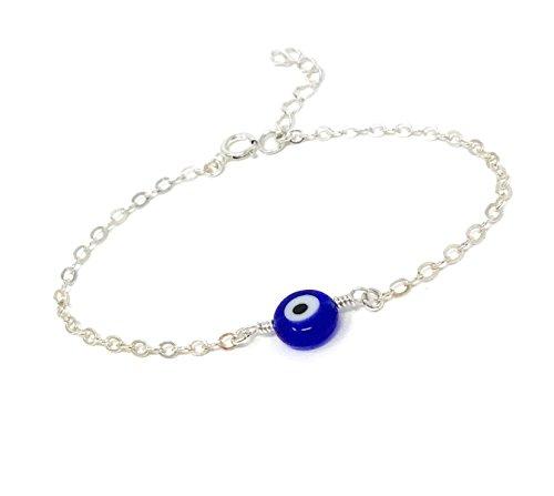 Dainty Evil Eye Bracelet – Sterling Silver