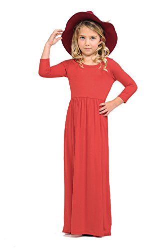 - Pastel by Vivienne Honey Vanilla Girls' Fit and Flare Maxi Dress Small 5-6 Years Coral