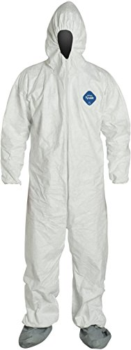 DuPont TY122S Disposable Elastic Wrist, Bootie & Hood White Tyvek Coverall Suit 1414 (Medium)