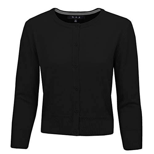Casual Stretchy Sweater Cardigan, 20 Colors,Vintage Inspired by MAK MK3554-BLK-L -