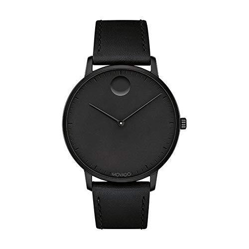 - Movado FACE Black Stainless Steel Case, Black Dial, Black Leather Strap, Men, 3640002
