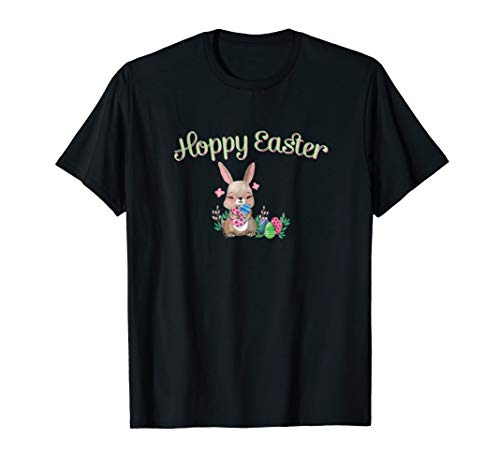 Hoppy Easter T Shirt With Bunny And Eggs