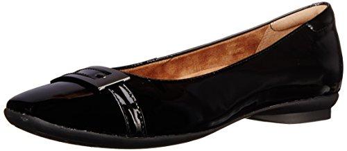 Clarks Candra Glare plana de la mujer Negro (black Patent Leather)