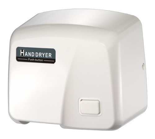 FastDry HK-1800PS Push Button Hand Dryer, White ABS Plastic Cover, 220-240V