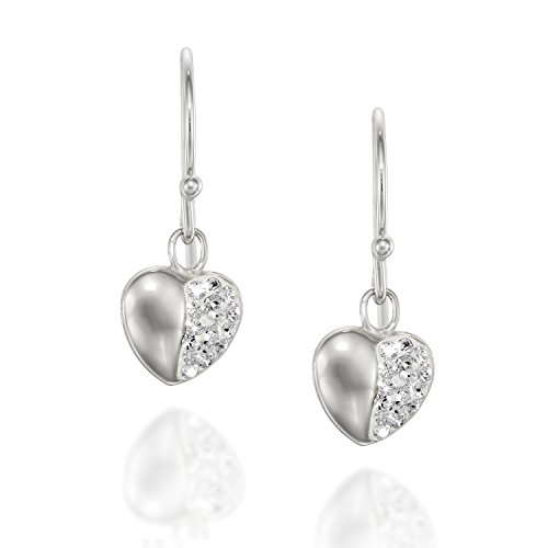 Pave Heart Earrings Made with Original Swarovski Crystals Great for Girls Teens - 925 Sterling Silver (Heart Earrings Sterling Crystal Silver)