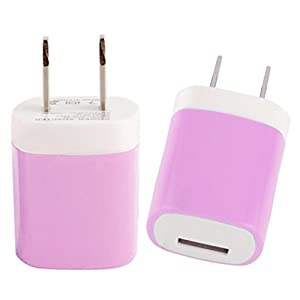 Aobiny Power Adapter USB Power Adapter US Plug Wall Travel Charger for iphone for Samsung for LG G5 (Pink)