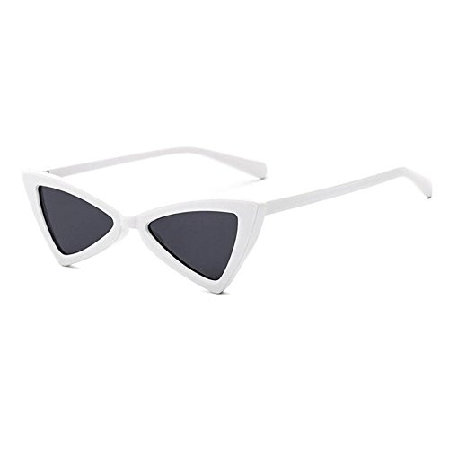 Eyewear Sunglasses Moda Mujeres Cat Hinge Inlefen Eye Gris Retro Metal Triangle Blanco w0HqxnYz