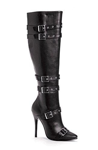Ellie 516-lexi Mujeres Sexy Comfortable 5 Heel Knee Botas Altas Con Hebillas Y Cremallera Interior Negro
