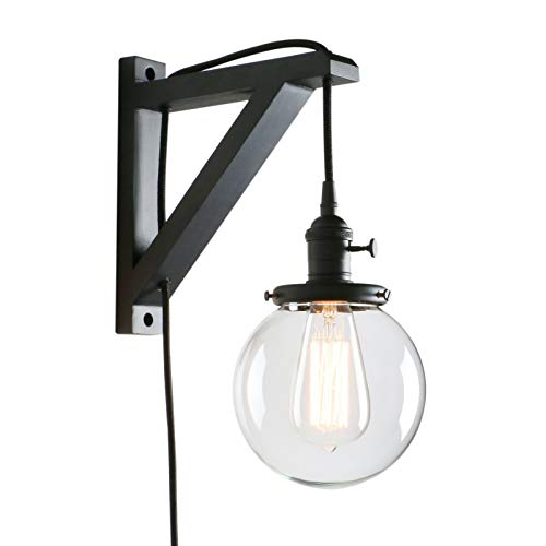 Permo Vintage Industrial 1-Light Plug in Wall Mount Wood Bracket Wall Sconce Lighting Fixture with Mini 5.9