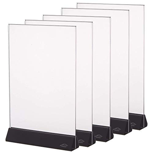 5 Pack 8.5x11 Acrylic Menu Holders,8 1/2 x 11 Clear Double Sided Display Acrylic Sign Holder by Cq acrylic ()