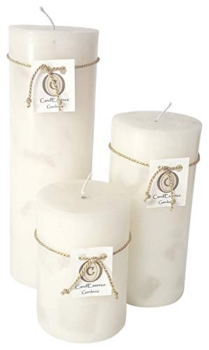 Handmade Scented Candle - Long Burning Pillar - Gardenia Scent (Set of 3)