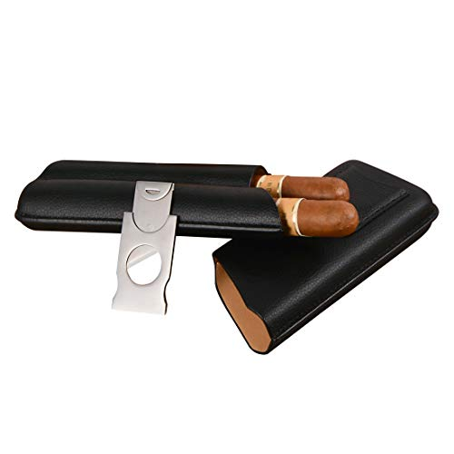 Volenx Cigar Case, 2 Cigars Black Leather Cigar Travel Case with -