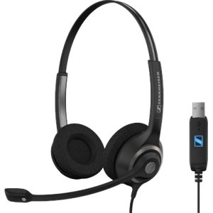 "Sennheiser Electronic Corporation - Sennheiser Sc 260 Usb Headset - Stereo - Black, Silver - Usb - Wired - 150 Hz - 6.80 Khz - Over-The-Head - Binaural - Ear-Cup - 3.30 Ft Cable - Noise Cancelling Microphone ""Product Category: Audio Electronics/Headsets/E"