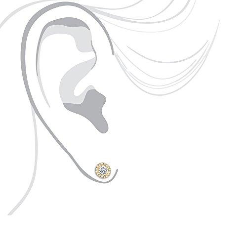 Luxurman Halo 14K Cluster Diamond Stud Earrings (Yellow Gold)