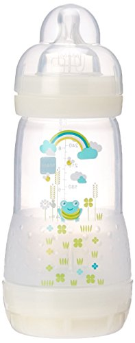 MAM Baby Bottles for Breastfed Babies, MAM Baby Bottles Anti Colic, White, 9 Ounces, 1-Count