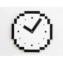Mosmat home Minimalist Wall Clock, Pixel Mosaic American Style Wooden Silent 12inch/29cm Hanging Clocks