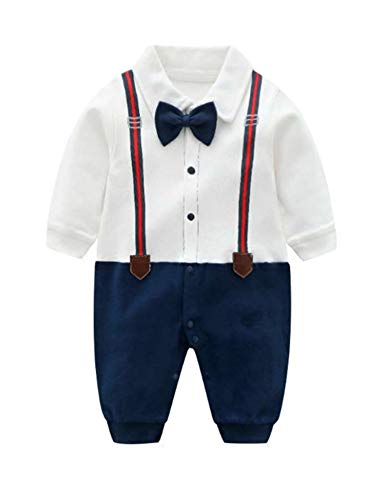 D.B.PRINCE Baby Boys Long Sleeves Gentleman Cotton Rompers Small Suit Bodysuit Outfit with Bow Tie (0-3 Months, -