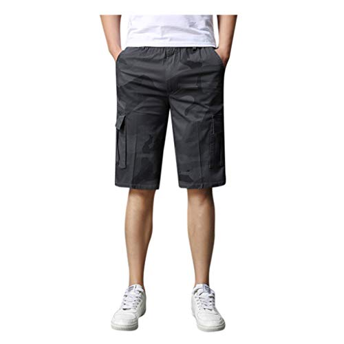 Men's Work Shorts, Summer Casual Combat Shorts High Waist Multi Pocket Cropped Cotton Shorts Overalls