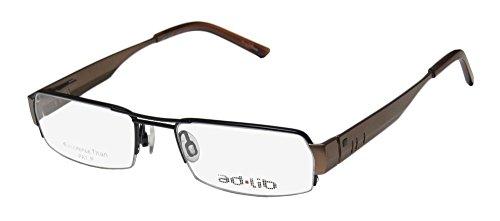 Ad.lib 3102 Mens/Womens Rectangular Half-rim Titanium Flexible Hinges Eyeglasses/Glasses (51-18-140, Black / Brown) (Ad Lib Mens Eyeglasses)