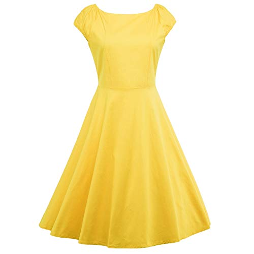 KCatsy Hepburn Vintage Series Dress Spring and Summer Round Neck Pure Color Design Elastic Sleeve Corset Women Retro Dress Yellow ()
