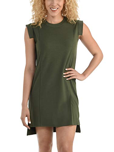 Seek No Further Women's Pleated Capped Sleeve Ponte Shift Dress, Military Green, Medium