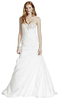David's Bridal Petite Taffeta Wedding Dress with Beaded Bust Style 7NTV3476