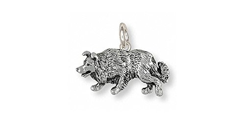 Border Collie Jewelry Sterling Silver Border Collie Charm Handmade Dog Jewelry BD25S-C