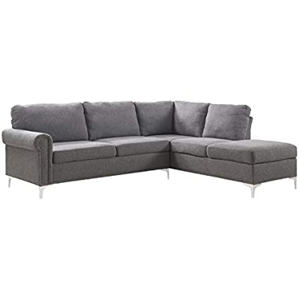 amazon com acme furniture 52755 melvyn sectional sofa gray fabric rh amazon com acme furniture hilton's sectional sofa with sleeper acme furniture thelma sectional sofa with sleeper and ottoman