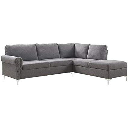 Amazon.com: ACME Furniture 52755 Melvyn Sectional Sofa, Gray Fabric ...