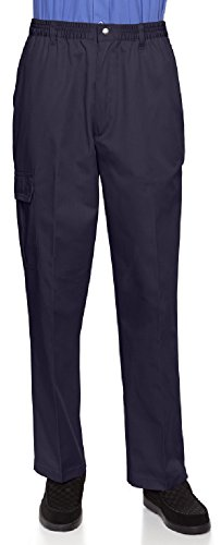 Benefit Wear Mens Full Elastic Waist Pants with Zipper Fly and Press-Stud Closure (M, Navy)
