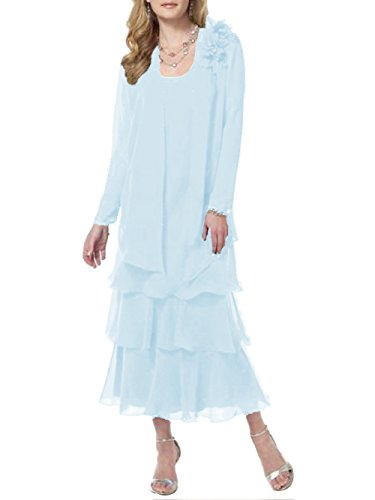 ModeC Tea Length Mother of The Bride Dresses Chiffon Tiered 2 Pcs Formal Gowns Light Blue US16W